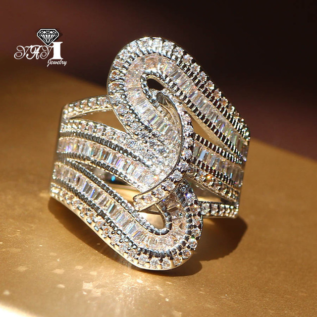 YaYI Jewelry Fashion New Arrival Princess Cut  5.6CT White Zircon Silver Color Engagement Rings Wedding Lovers Party Rings 5