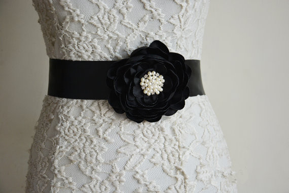 Crni saten cvijet sash Žene Remen Rhinestone Vjenčanje pojas bisera i Crystal Beaded Sash pojas svadbeni pribor