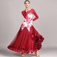 Good Quality Modern Dance Dress For Ladies Burgundy Black Green Fabric Fashions Feminine Women Ballroom Flamenco Garments I159