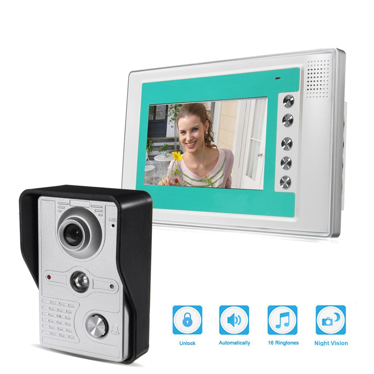7'' Wire Video Door Phone Doorbell Intercom Camera Monitor Security Night Vision  Access Control new 7 inch color video door phone bell doorbell intercom camera monitor night vision home security access control