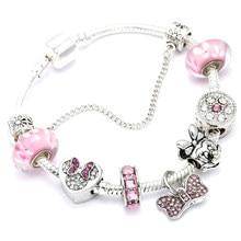 ffb906fc6dc7 Animal Mickey encanto pulseras y brazaletes de la joyería de las mujeres  Minnie Rosa Arco-Nudo colgante de la pulsera de Pandora.