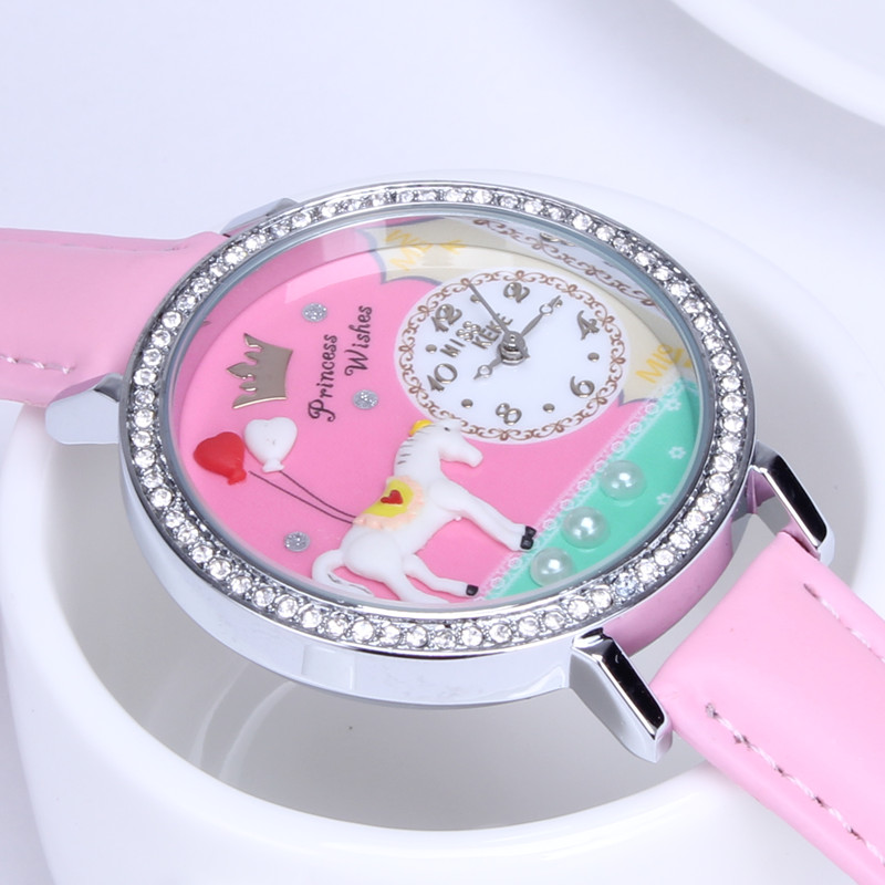 Eenhoorn Miss Keke 2016 Klei Leuke 3d Orz Paard Kinderen Strass Mode Dameshorloge Vrouwen Lederen Quartz Horloges 1018