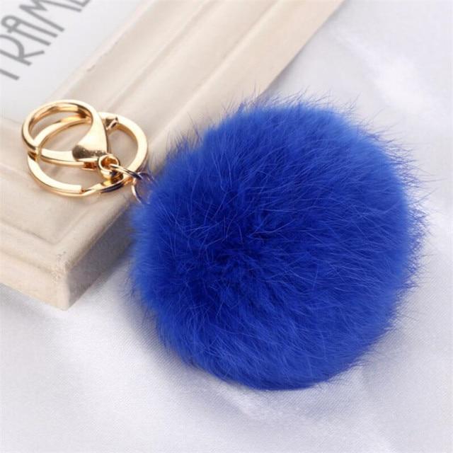 ff613e1dc0d8 Women Bag Blue Fur Pom Pom Keychain 2016 New Fashion Car 8 CM Soft Rabbit  Fur