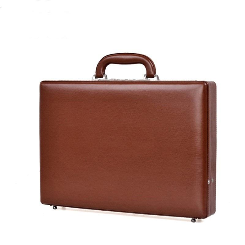 Piaoruxu Luxury Bonded Leather Briefcase Extensible Laptop Case Men Fashion Suitcases Password Cash Case Document Bag