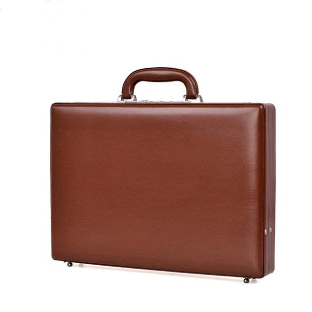 Piaoruxu Luxury Bonded Leather Briefcase Extensible Laptop Case Men Fashion Suitcases Password Cash Case Document Bag Black Hot