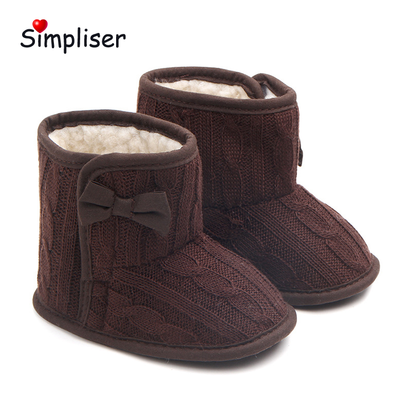 Newborn Baby Snow Boots 2018 Winter Warm Plush Soft Shoes for Baby Girls And Boys Infant First Walkers Toddler Shoes Red Pink