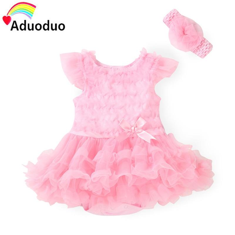 Newborn Baby Clothing Baby Gril Clothes Bow tutu Princess Dress Rompers+Headband 2 Pcs/Set Kids Gifts