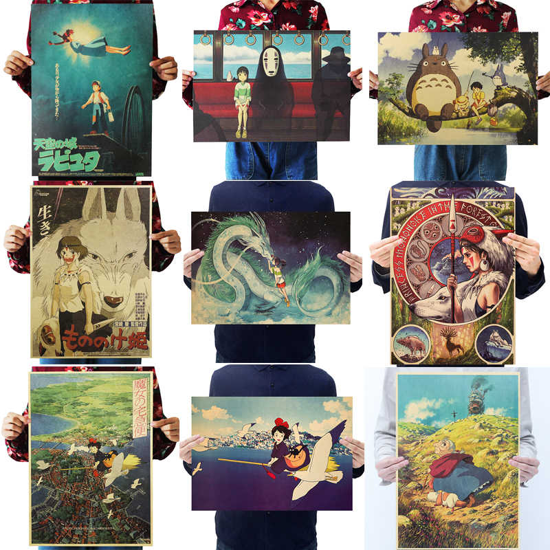 Dlkklb Hayao Miyazaki Anime Film Poster Set Kraft Papier Cafe Bar Retro Poster Dekorative Malerei Kunst Wand Aufkleber Wohnkultur