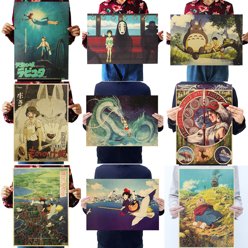 Dlkklb Hayao Miyazaki Anime Movie Poster Set Kraft Paper Cafe Bar Retro Poster Decorative Painting Art Wall Stickers Home Decor(China)