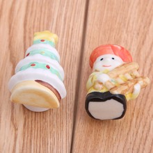 childrenn room shoe cabinet drawer knobs pulls cartoon porcelain handle knob dolls Christmas Tree handle pulls knobs white green