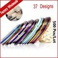 37 colores Rollos Striping Tape Hilados Metálicos Línea de Uñas Pegatinas de Decoración, 500 unids/lote Mix Diseño DIY Del Arte Del Clavo Belleza herramientas