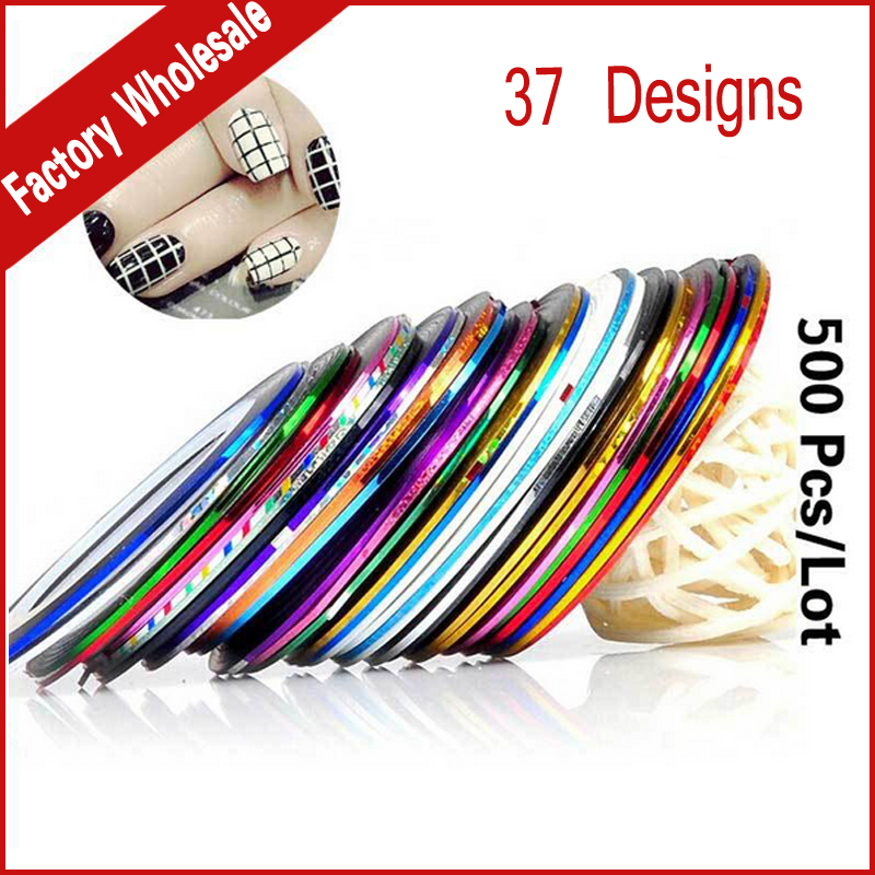37colors Metallic Yarn Line Rolls Striping Tape Nail Stickers Decoration,500pcs/lot Mix Design DIY Nail Art Beauty Tools 30pcs pack 2m mixed colors rolls 3d striping tape line diy nail art decoration sticker uv gel polish tips metallic yarn decal