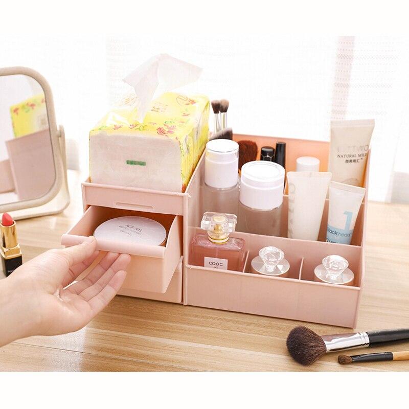 1PC Plastic Cosmetic Box Multifunction Desktop Makeup Storage Holder PP Makeup Organizers Storage Box