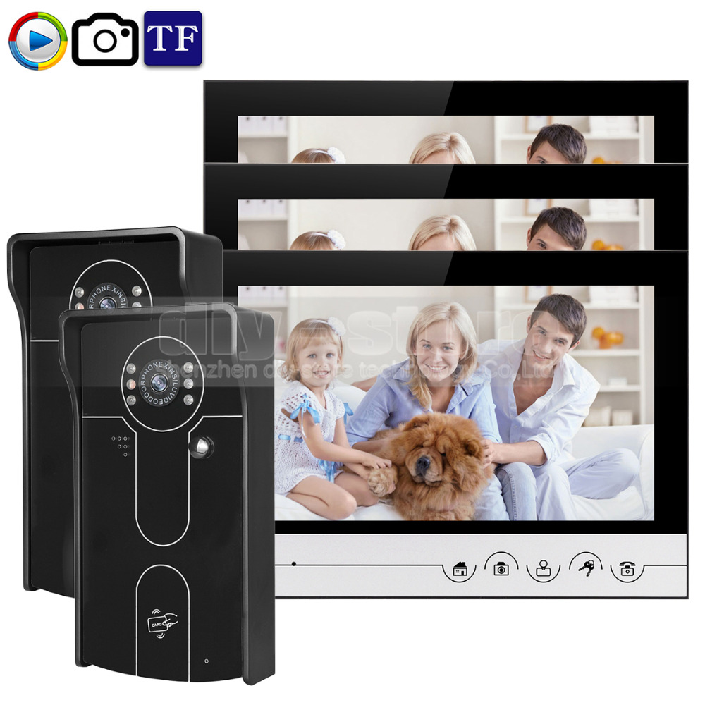 DIYSECUR 9inch Video Record/Photograph Video Door Phone Doorbell Waterproof HD RFID Camera Home Security Intercom System 2V3 diysecur 9inch video record photograph video door phone doorbell waterproof hd rfid camera home security intercom system 2v4
