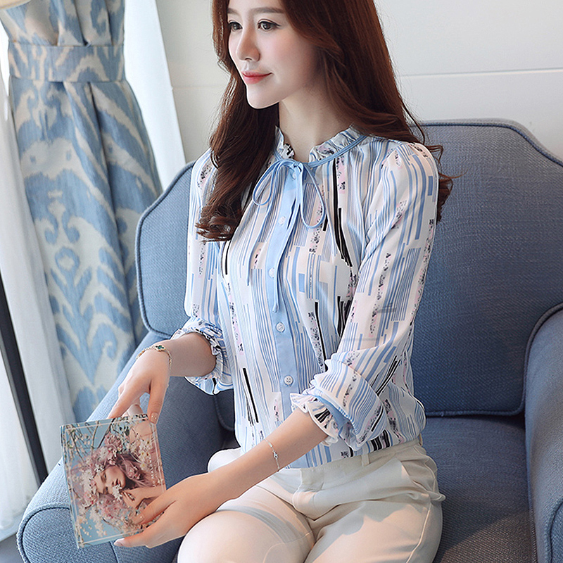 34984c0335 Light Blue striped chiffon blouse women bow tie Ruffled Collar long Sleeve  patchwork shirt women casual Office Lady blusas-in Blouses & Shirts from  Women's ...