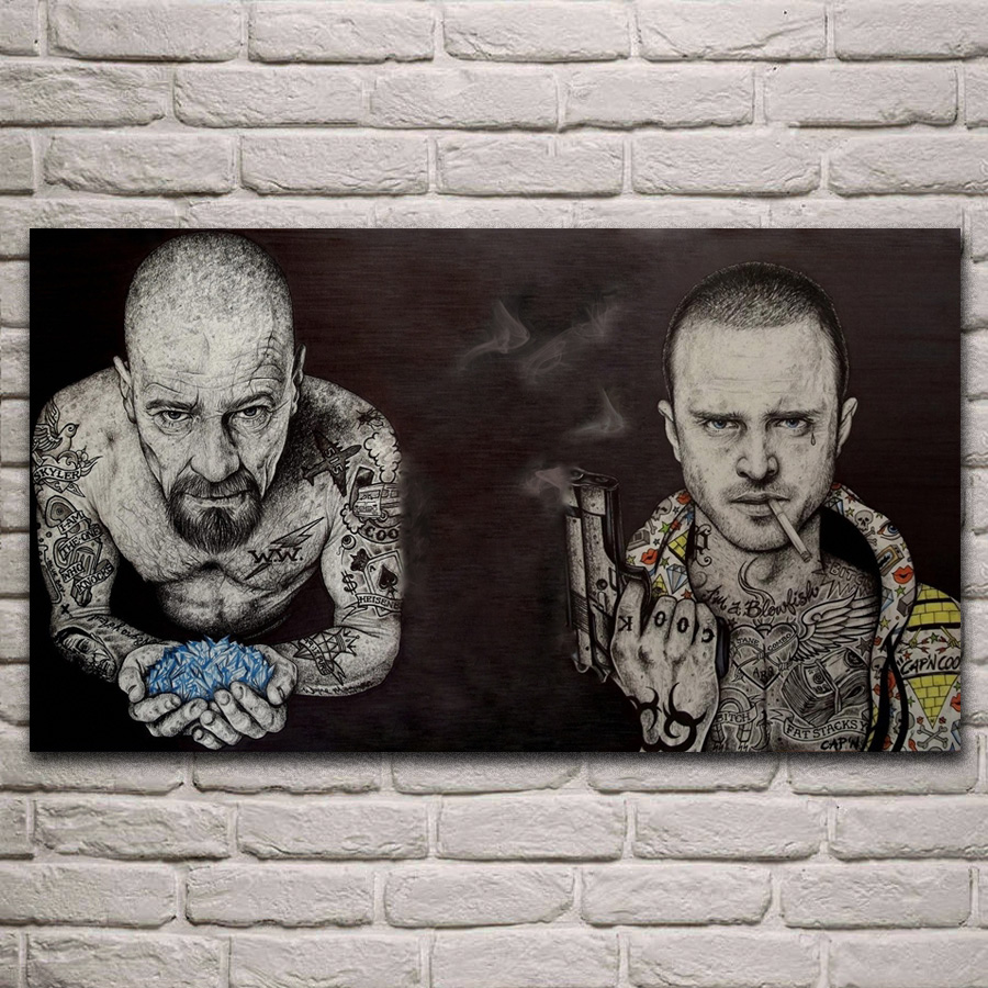 Breaking Bad Serious Tattoo Actors Portrait Artwork Living Room Decoration Home Wall Art Decor Wood Frame Fabric Posters KJ360