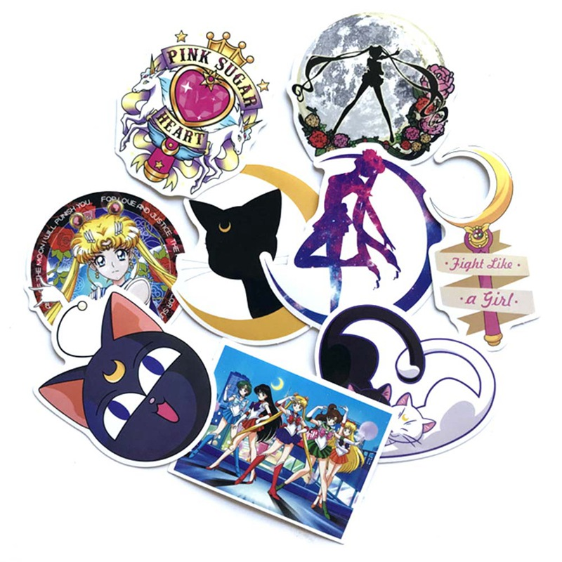9Pcs/set Classics Anime Sailor Moon Sticker For Car Laptop Skateboard Bicycle Waterproof PVC Stickers
