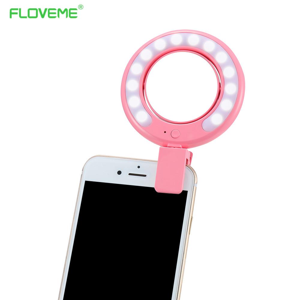 Prix pour FLOVEME LED Photographie La Lumière Up Selfie Lumineux Lampe Nuit Téléphone anneau Flash Pour iPhone SE 5 6 6 S Plus Photo accessoires