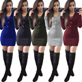 2017 Autumn Cotton sexy women clothing Cross-wearing rope Pit Bodycon dress 5 colors long sleeve One piece night club dress