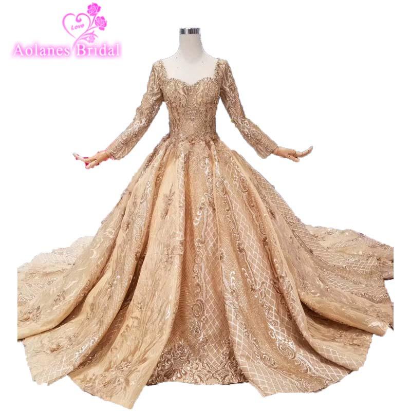Custom Made New Luxury Champagne Gold Princess Wedding