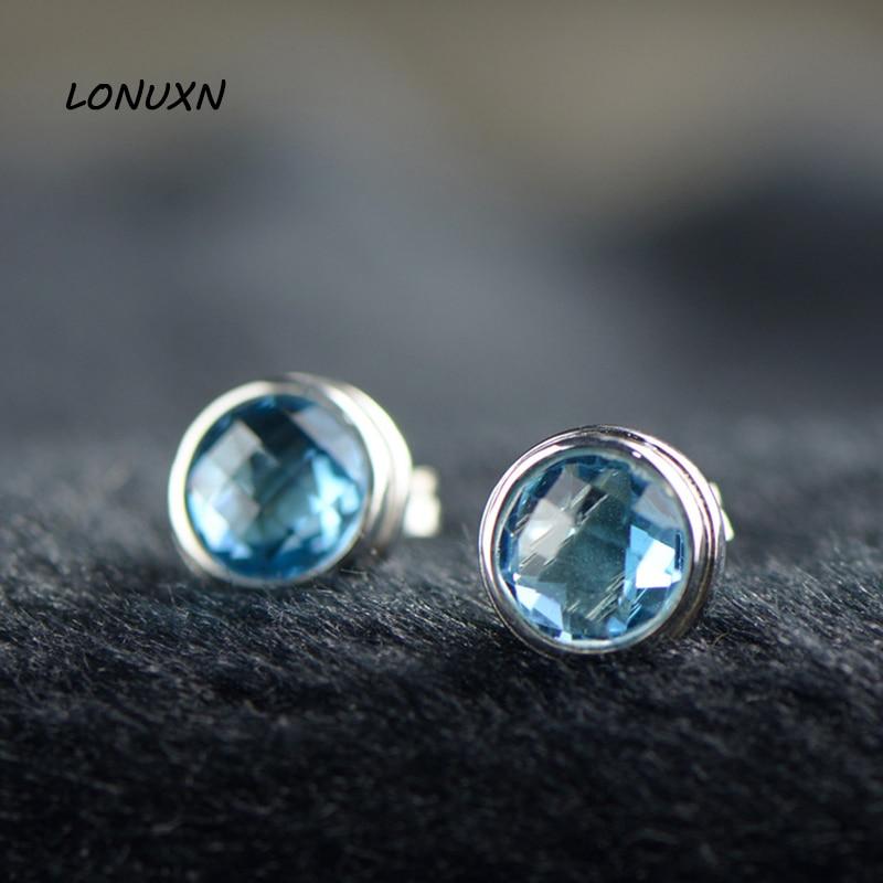 0.9 cm 925 argent femmes bijoux bleu cristal boucles d'oreilles brillant mode mignon petites pierres semi-précieuses naturelles de haute qualité