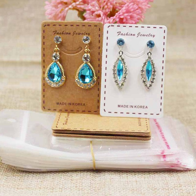 Cute Smiling Jewelery Package Earring Display Card Kraft White Drop Products Decorative