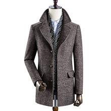 Men'S Winter New Woolen Coat Men'S Lapel Detachable Scarf Thick Woolen Coat High Quality Warm Men'S Woolen notch lapel patch pocket back vent woolen coat