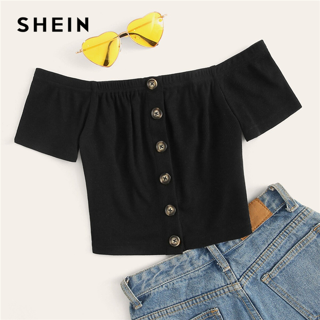 c87645c858 SHEIN Off Shoulder Button Front Rib-Knit Crop Top Women Clothes Summer Slim  Fit Tee 2019 Boho Short Sleeve Solid Tshirt