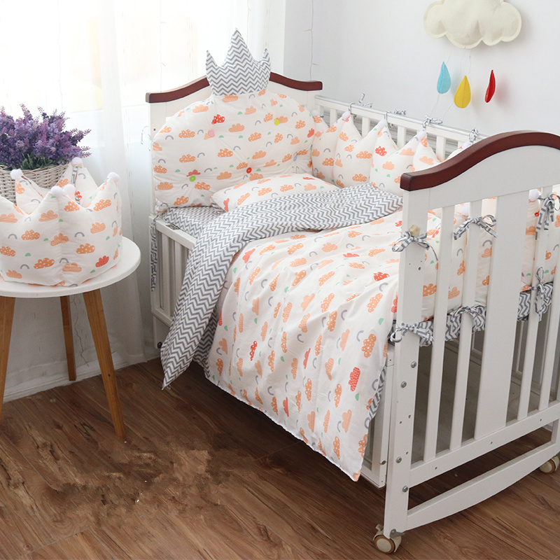 9 pcs Baby Bedding Complete Set Quality Cotton Baby Bed Set Crown Shape Cot Bumpers Quilt Pillow Sheet with Filling Multi Sizes