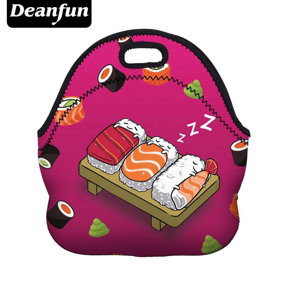 Deanfun 3D Gedruckt Sushi Mittagessen Taschen Mode Neopren mit Reißverschluss für Lebensmittel Paket Niedlichen Cartoon Wasserdichte 50813