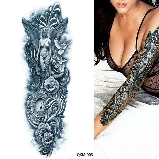 3eb14a0d6dc63 48*17cm larrge Blue Ancient Beauty Warrior rose clock Temporary Full Arm  Leg fake Tattoo Sticker cheap stuff tribal body tatoo