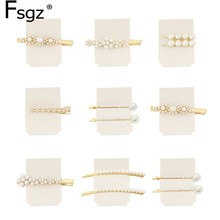 Hot Ins Pearls Hairpins For Women Girls Golden Alloy Flower Shapes Hairgrips Luxury Rhinestones Wedding Hair Accessories