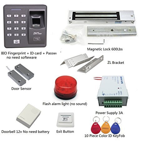 Super Deals! Fingerprint+Password+Id Card Biometric Access Control & Biometric Door Lock Entry Kit (Magnetic Lock+ ZL Bracket)