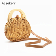Straw Handbag Women Wooden Hand-Woven Top-Handle Beach Bag Circular Knitting Bags Travel Tote For Crossbody