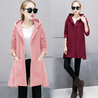 Jacket Pregnant Women 2017 Winter New Style Thicken Velvet Hooded Coat Pregnant Women Loose Long Long