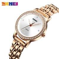 SKMEI New Fashion Women Watches Bracelet Watch Ladies Stainless Steel Quartz Wristwatches Waterproof Relogio Feminino 1311
