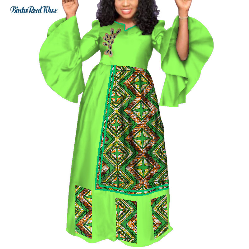 Bazin Riche Lange Party Abendkleider Frauen Afrikanische Rüschen Hülse Kleider für Frauen Afrikanische Kleidung Drucken Blatt Kleider WY3985 - 6