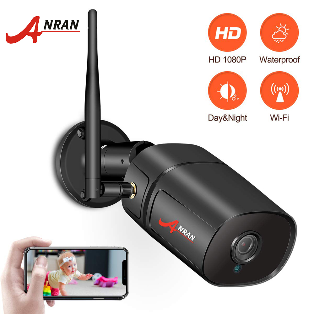 ANRAN Wifi Outdoor IP Camera 1080P HD Weatherproof security camera Two Way Audio Night Vision Bullet Camera With Miscro SD Card