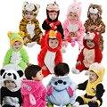Новорожденный животных ползунки ребенка костюм с капюшоном фланель детские ползунки малыша комбинезон одежда мальчик девочка животного ползунки