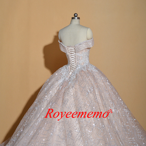 Image 5 - Vestido de Noiva off shoulder wedding dress Vintage Robe De Mariage special lace design shiny luxurious wedding dress factory
