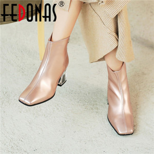 Image 1 - FEDONAS Autumn Winter Fashion Genuine Leather Women Ankle Boots Back Zipper High Heels Party Night Club Shoes Woman Short Boots