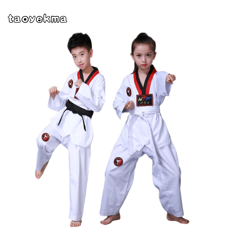 Taekwondo Dobok Cotton White Karate Uniform WTF Belt Red Black V