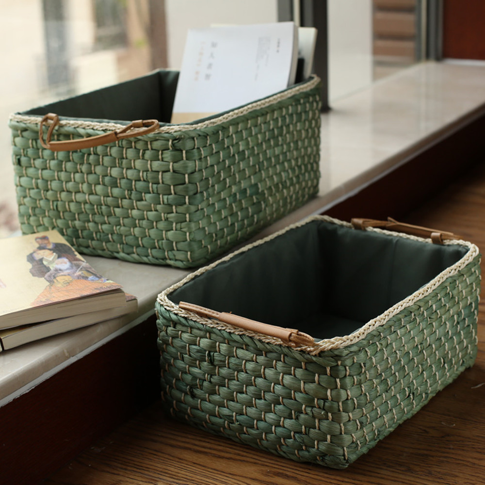 Handmade Wicker Storage Baskets Bins Containers Toy Organizer Box Desktop Decorative  Storage Boxes For Home Panier