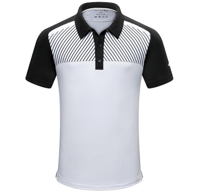 Novos do Sportswear T-shirt de Manga Botões de Lapela dos Homens de Roupas de Golfe de Golfe Homens Curta Magro Verão Quick Dry Respirável Camisas 2019