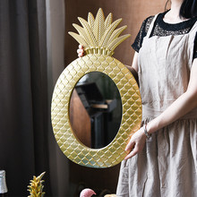 Vintage pineapple geometric pattern golden wall decoration mirror bedroom dressing window model vase