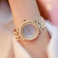 2018 роскошные полный горный хрусталь для женщин часы модные женские Золотое Платье часы Новый женский большой циферблат наручные часы
