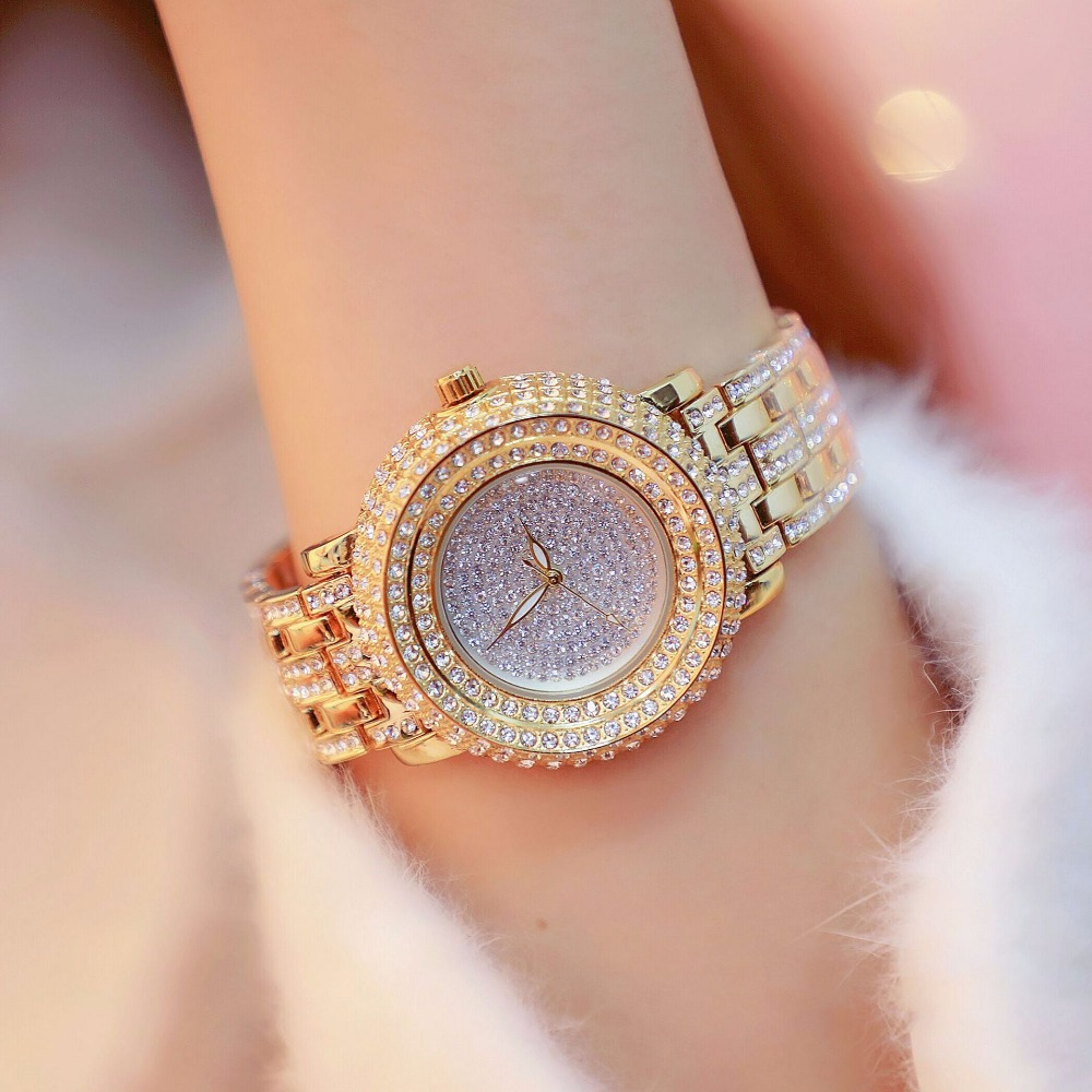 2018 De Luxe Pleine Strass Femmes Montres Dames De Mode Or Robe Montre Nouvelle Femelle Grand Cadran Montre-Bracelet En Cristal Bracelet Montre