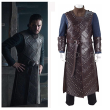 Game Of Thrones New Season 6 Jon Snow Stark Armor Cosplay Costume Man Battle Suit A Song of Ice and Fire Rivets Uniform Full Set