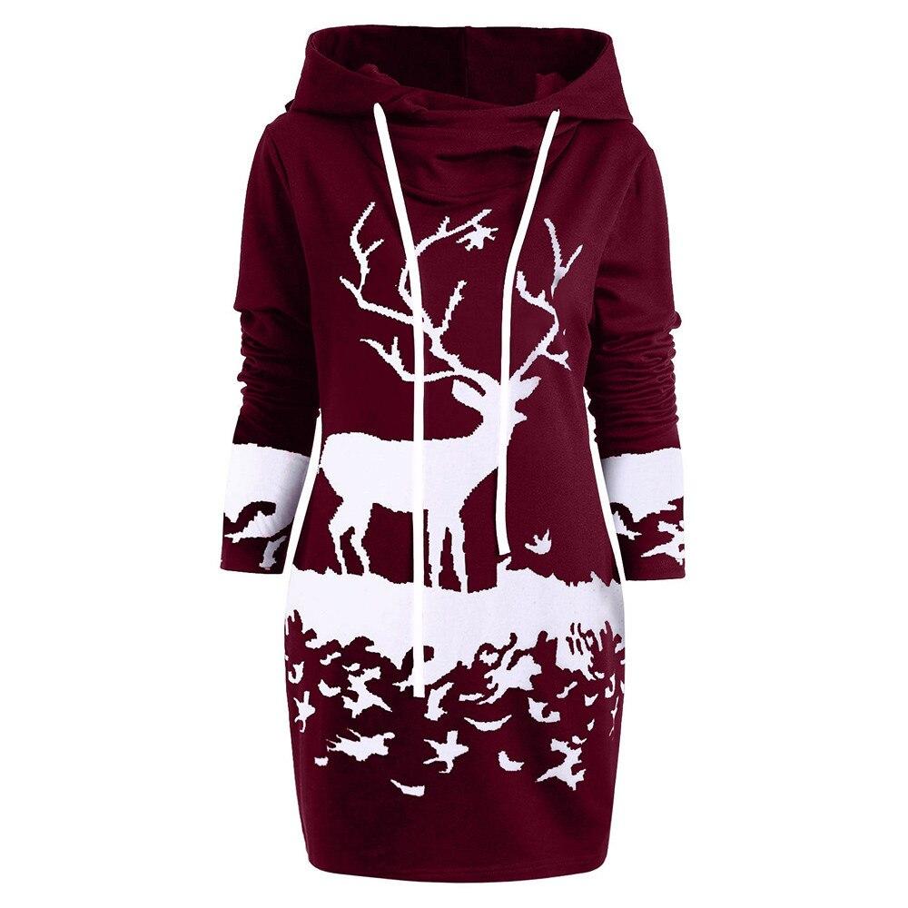 Womens Christmas Monochrome Reindeer Printed Hooded Drawstring Mini Dress#T2