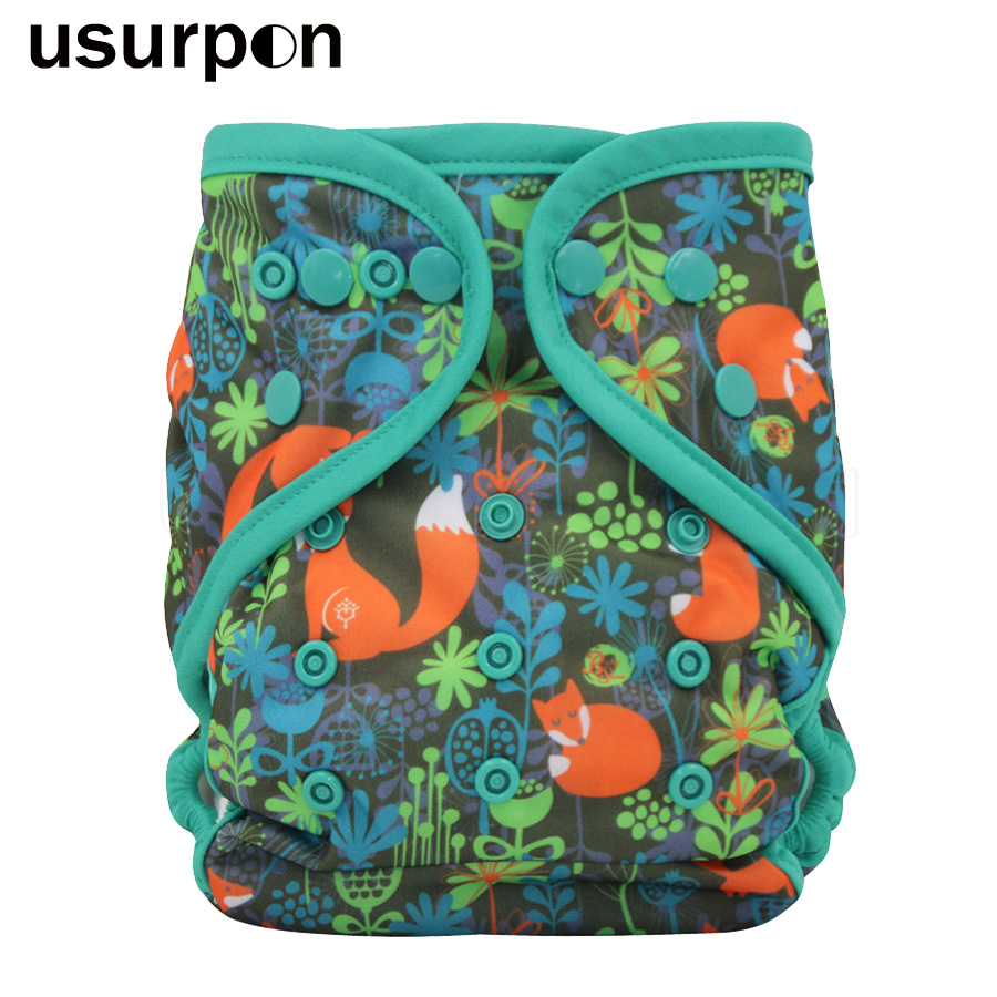[usurpon] 1 Pc AIO Night Cloth Diaper With Colored Piping Add Microfiber Insert Baby All In One Reusable Cloth Diapers Baby